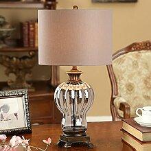 TOYM UK Retro Europäische Harz Glas Tischlampe Schlafzimmer Nachttischlampe Chinesischen Stil Wohnzimmer Dekoration Tischlampe