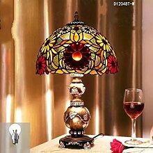 TOYM UK- Tiffany Garten Wohnzimmer im europäischer Stil kreative Studien Schlafzimmer Nachttischlampen retro-Kunst-Glaslampe