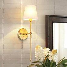 TOYM UK-US-amerikanischer Country-Wandlampe Nachttischlampe warmen minimalistischen Schlafzimmer Lampe Korridor Wandspiegel vor dem TV-aisle All-Kupfer-Lampen