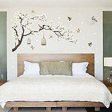 TOYP Große Baum-Blumen-Wandaufkleber Birdcage