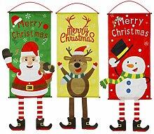 Toyvian 3 Stück Weihnachten Flagge Weihnachtsmann