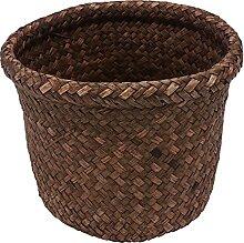 Toyvian Rattan Runde Abfall Korb Stroh Woven