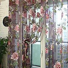 TPulling Pfingstrose Floral Tulle Türfenstervorhang Drapieren Steuerung Exquisiter Sonnenschutz Sheer Schal Volants (Rot)