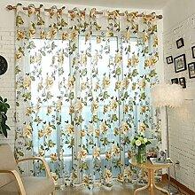 TPulling Pfingstrose Floral Tulle Türfenstervorhang Drapieren Steuerung Exquisiter Sonnenschutz Sheer Schal Volants (Gelb)