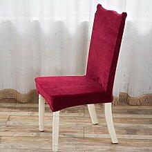 TPulling Siamese Stretch Stuhlabdeckung Vier Jahreszeiten Universalmodelle Universal Spandex Esszimmer Hochzeitsbankett Dicker Plüsch-Absatz Slip Cover (Rot)