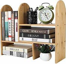 TQVAI Schreibtisch-Bücherregal aus natürlichem