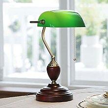 Traditionell Bankerlampe grün mit Holzfuß, Retro