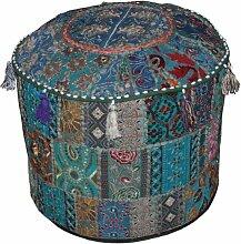 Traditionelle Dekorative osmanischen Komfortable Bodenkissen Hocker mit Verzierung mit Stickerei & Patchwork, 46 x 33 cm