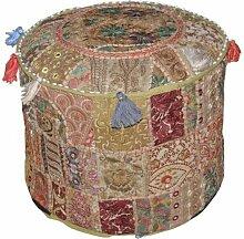Traditionelle indische Startseite Dekorative osmanischen Handgemacht und Patchwork Hocker Bodenkissen, 46 x 33 cm