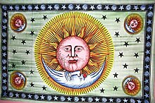 Traditionelle Jaipur handbemalt sun-moon-star