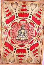 Traditionelle Jaipur Lotus Buddha Wandteppich,