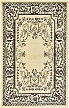 Traditionelle Kerman Bereich Teppich, Polypropylen, cremefarben, 5 x 8