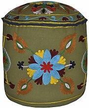 Traditionelle Rajasthani Suzani-Stickerei, Grün/Fußhocker, rund, 45 x 45 x 35 Cm