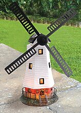 Traditionelle solarbetriebene Windmühle Wind mit LED-Licht Garten Ornamen
