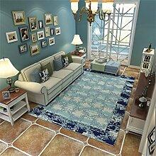 Traditioneller Bereich Teppich für Wohnzimmer Schlafzimmer Designer moderne Sofa Kaffee Tischset einfache trendige Schlafzimmer rechteckigen Nachttisch Teppich - abstrakte Kunst blau Blumenmuster ( größe : 200*300cm )