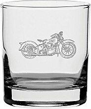 Traditionelles Whiskyglas mit Harley Davidson