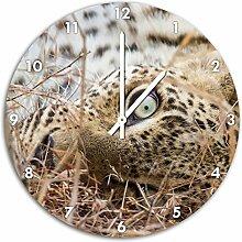 Träumender Leopard, Wanduhr Durchmesser 48cm mit weißen spitzen Zeigern und Ziffernblatt, Dekoartikel, Designuhr, Aluverbund sehr schön für Wohnzimmer, Kinderzimmer, Arbeitszimmer