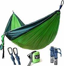 Tragbare Hängematte Moskitonetz Tolles Geschenk für Erwachsene/Kinder, mamum New Doppel Camping Hängematte leicht Nylon tragbar Hängematte Khaki/Blau/Grün Einheitsgröße grün
