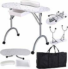 Tragbare Maniküretisch Nageltisch Kosmetiktisch Schreibtisch Workstation Handgelenkauflage mit Tasche (Weiss)