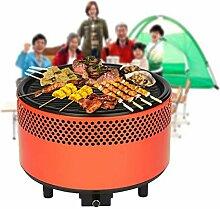 Tragbare smokeless Holzkohlegrill,SGODDE kompakte Grill BBQ Grill -eingebaut in batteriebetriebenen Ventilator tragbare elektronische Camping / Picknick / Rucksack / Hinterhof / Überleben / Notfall-Orange 1