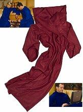 Tragbarer Fleece-Decke mit Ärmeln (Wine)