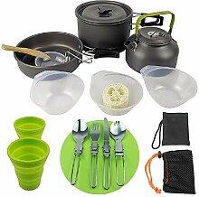Tragbares Camping-Kochgeschirr-Set für ein