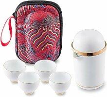 Tragbares Reise-Tee-Set aus Keramik, asiatische