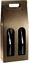 Tragekarton Couro braun-gold Lederoptik / Fenster 180 x 90 x 380 mm (Innenmaß) für 2 Flaschen ** Verpackungseinheit: 25 Stück **