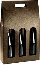 Tragekarton Couro braun-gold Lederoptik / Fenster 270 x 90 x 380 mm (Innenmaß) für 3 Flaschen ** Verpackungseinheit: 25 Stück **