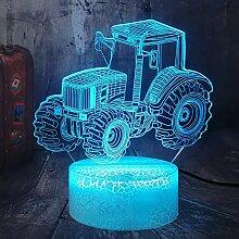 Traktor 3D Illusion neben Tischlampe 16