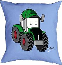 Traktor Motiv Kissen - Landwirt Kissenbezug : Traktor by Gali -- Kissen ohne Füllung -- Farbe: hellblau