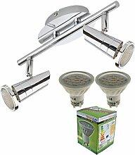 Trango 2-flg. Deckenleuchte Deckenstrahler Deckenspots inkl. 2x LED GU10 Leuchtmittel - 3000K Warm-Weiß TG2001-028-6W