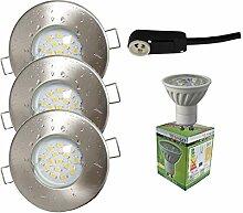 Trango® 3er Set IP44 Einbaustrahler Nickel Matt TG6729IP-032-6WC Bad / Dusche / Sauna inkl. 3x GU10 6,0 Watt LED Leuchtmittel 3000K w-weiß & Fassung Einbauleuchten Edelstahl lackiert rostfrei