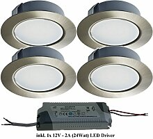 Trango 4er Pack LED Möbeleinbauleuchte Nickel