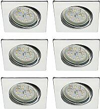 Trango 6er Pack LED Einbaustrahler in Chrom Eckig
