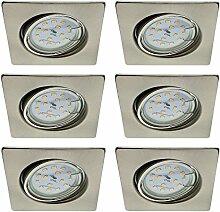 Trango 6er Set LED Einbaustrahler Eckig Nickel