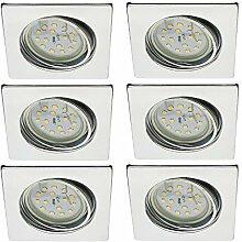 Trango 6er Set LED Einbaustrahler in Chrom Eckig