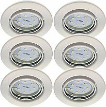 Trango 6er Set LED Einbaustrahler in Weiß Rund