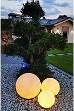 TRANGO Gartenleuchte, *NATURE* 3er Set Kugellampe