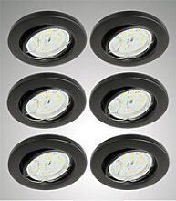 TRANGO LED Einbauleuchte, 6er Set 6729-065MOSD LED