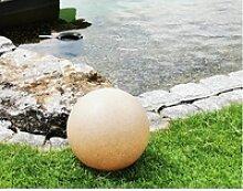 TRANGO LED Gartenleuchte Sandstein-Optik, 1er Set