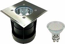 Trango TG3084S-B Bodeneinbaustrahler Wegbeleuchtung IP65 (Eckig inkl. LED Leuchtmittel)