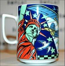 Transatlantic blau BOPLA! MAXI TASSE SERIE VOYAGE URLAUB REISE MUG - MAXI TAZZA - MAXI CUP - MAXI TAZA 0,3 l, 10-1/2 fl. oz. 302g - Geeignet für alle heißen, kalten Getränke. Platzsparend stapelbar