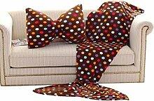 Transer® Fashion Fleece-Sofadecke mit Meerjungfrauenschwanz + Schleifenkissen., acryl, braun, M