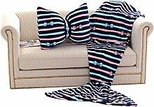 Transer® Fashion Fleece-Sofadecke mit Meerjungfrauenschwanz + Schleifenkissen., acryl, blau, M