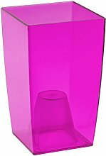 Transparent Coubi Tower Vase, transparent, plastik, Pink Transparent, 12x12x20 cm
