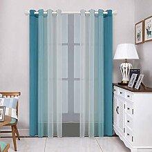 Transparente Gardinen Set mit 2 Paneelen Blau