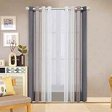 Transparente Gardinen Set mit 2 Paneelen Grau