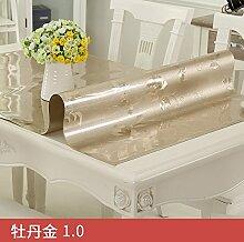 Transparente Pvc-Tischdecke, Wasserdicht Und Verbrühen, Reinigung Tischdecke, Pfingstrose Gold, 70 * 130 Cm,