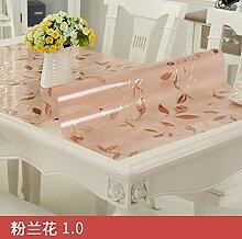 Transparente Pvc-Tischdecke, Wasserdicht Und Verbrühen, Reinigung Tischdecke, Pink Orchid 1,60 * 120 Cm
